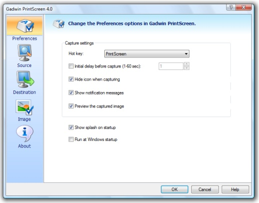 Gadwin PrintScreen 4.0 Preferences