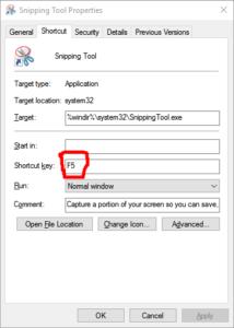 Set keyboard shortcut key