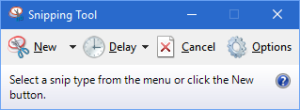 Screen grab of snipping tool application with help text displayed