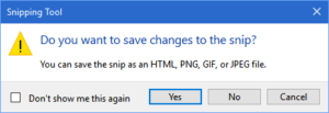 screen capture of prompt to save snip on closing of snipping tool